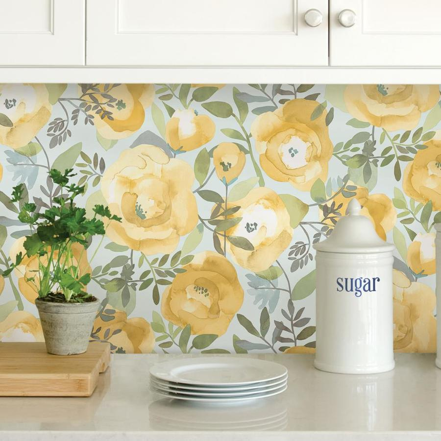 Nuwallpaper 30 75 Sq Ft Yellow Vinyl Floral Self Adhesive Peel And Stick Wallpaper In The Wallpaper Department At Lowes Com