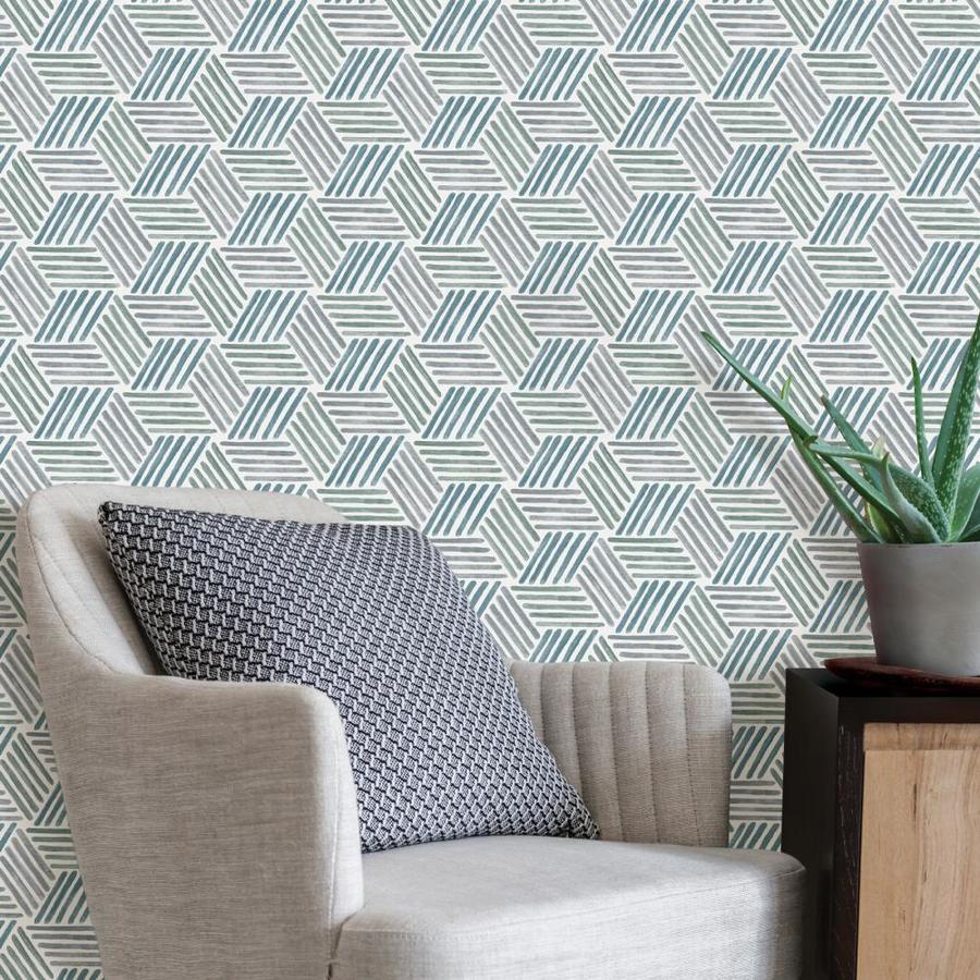 Scott Living 30 75 Sq Ft Blue Green Vinyl Geometric Self Adhesive Peel And Stick Wallpaper In The Wallpaper Department At Lowes Com