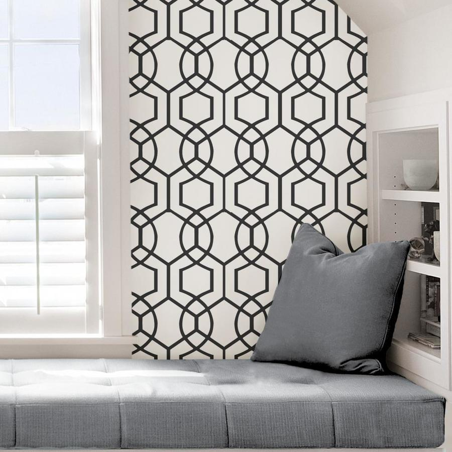 Scott Living 30 75 Sq Ft Charcoal Vinyl Geometric Self Adhesive Peel And Stick Wallpaper In The Wallpaper Department At Lowes Com