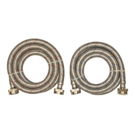 EASTMAN 2-Pack 72-in 1800 PSI Stainless Steel Washing Machine Connector