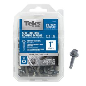Teks 80-Count #12 x 1-in Zinc Plated Self-Drilling Interior/Exterior Roofing Screws