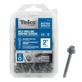 Teks 50-Count #12 x 2-in Zinc Plated Self-Drilling Interior/Exterior Roofing Screws