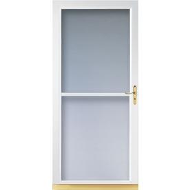LARSON Tradewinds White Full-View Tempered Glass Aluminum Retractable Screen Storm Door (Common: 32-in x 81-in; Actual: 31.75-in x 79.75-in)