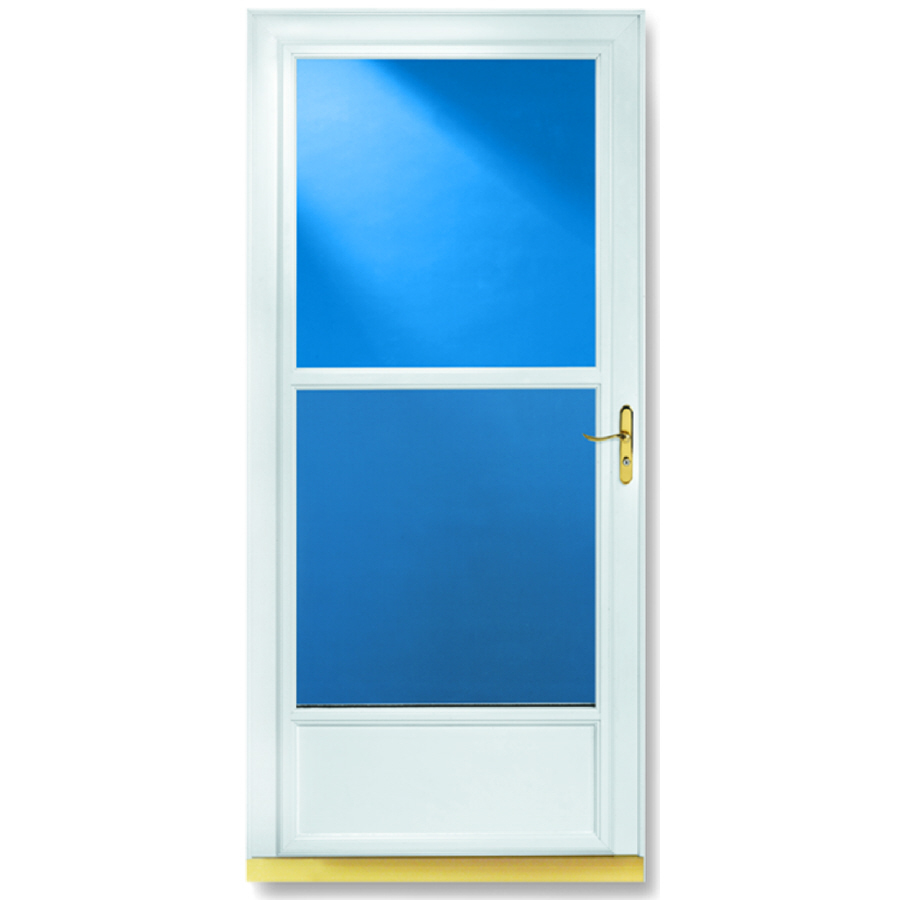 Shop larson tradewinds white mid view tempered glass for Larson storm doors