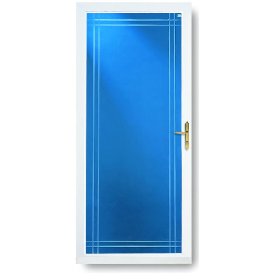 Shop larson williamsburg white full view tempered glass for Full glass screen door