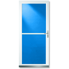 LARSON Tradewinds White Full-View Tempered Glass Aluminum Retractable Screen Storm Door (Common: 36-in x 81-in; Actual: 35.75-in x 79.75-in)
