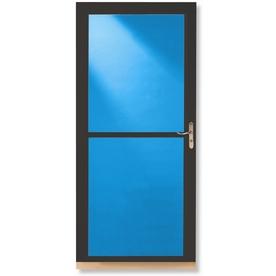 LARSON Tradewinds Brown Full-View Tempered Glass Aluminum Retractable Screen Storm Door (Common: 36-in x 81-in; Actual: 35.75-in x 79.75-in)