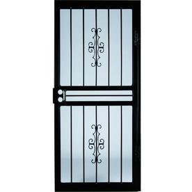 LARSON Courtyard Black Steel Security Door (Common: 36-in x 81-in; Actual: 35.75-in x 79.75-in)