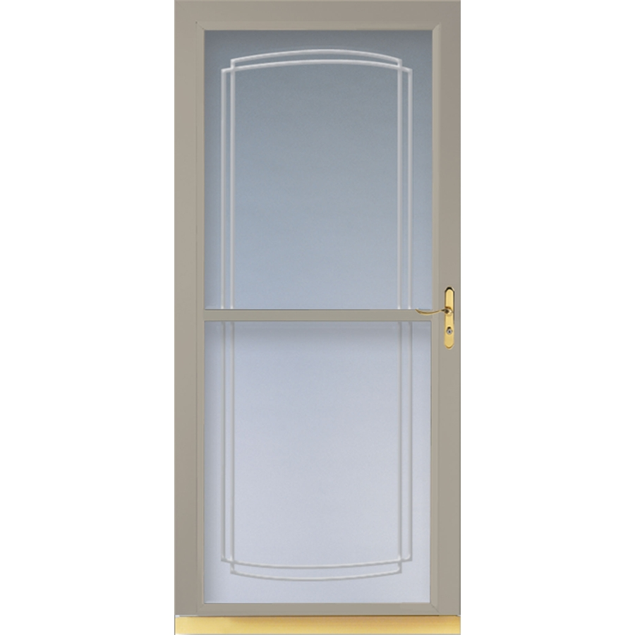 Shop larson tradewinds sandstone full view tempered glass Cost of retractable screen doors
