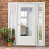 LARSON Savannah White Mid-View Tempered Glass Wood Core Retractable Screen Storm Door (Common: 32-in x 81-in; Actual: 31.75-in x 79.875-in)