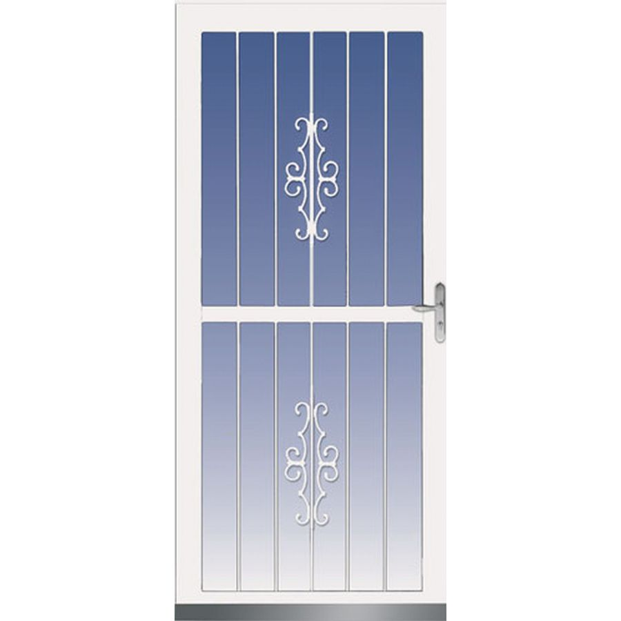 Lowe S Security Storm Doors : Shop larson classic view white full tempered glass