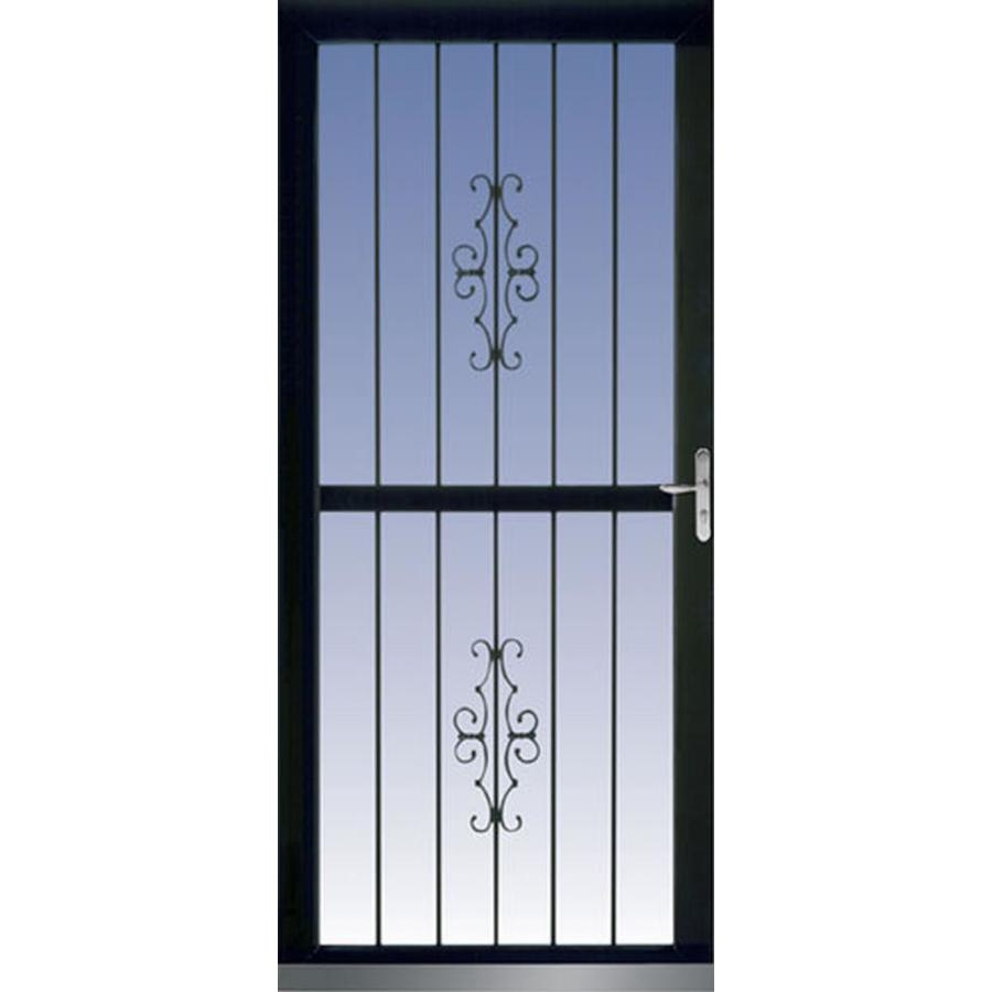 Lowe S Security Storm Doors : Shop larson classic view black full tempered glass