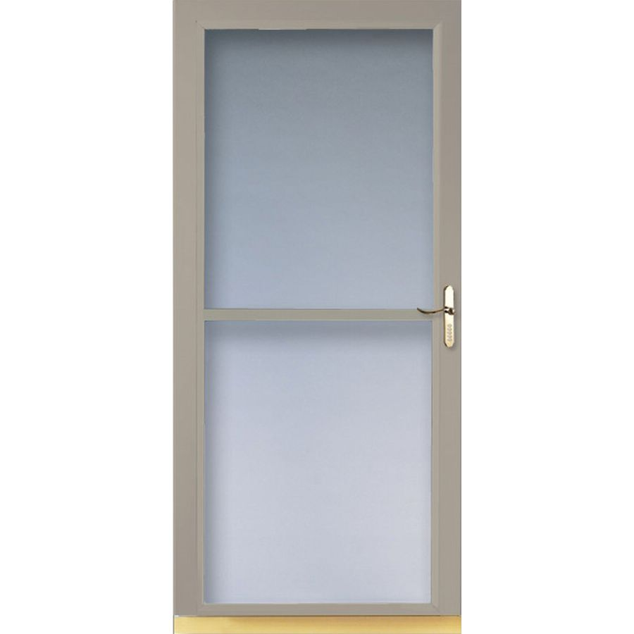 Shop larson 32 in w sandstone retractable screen storm for Retractable screen door