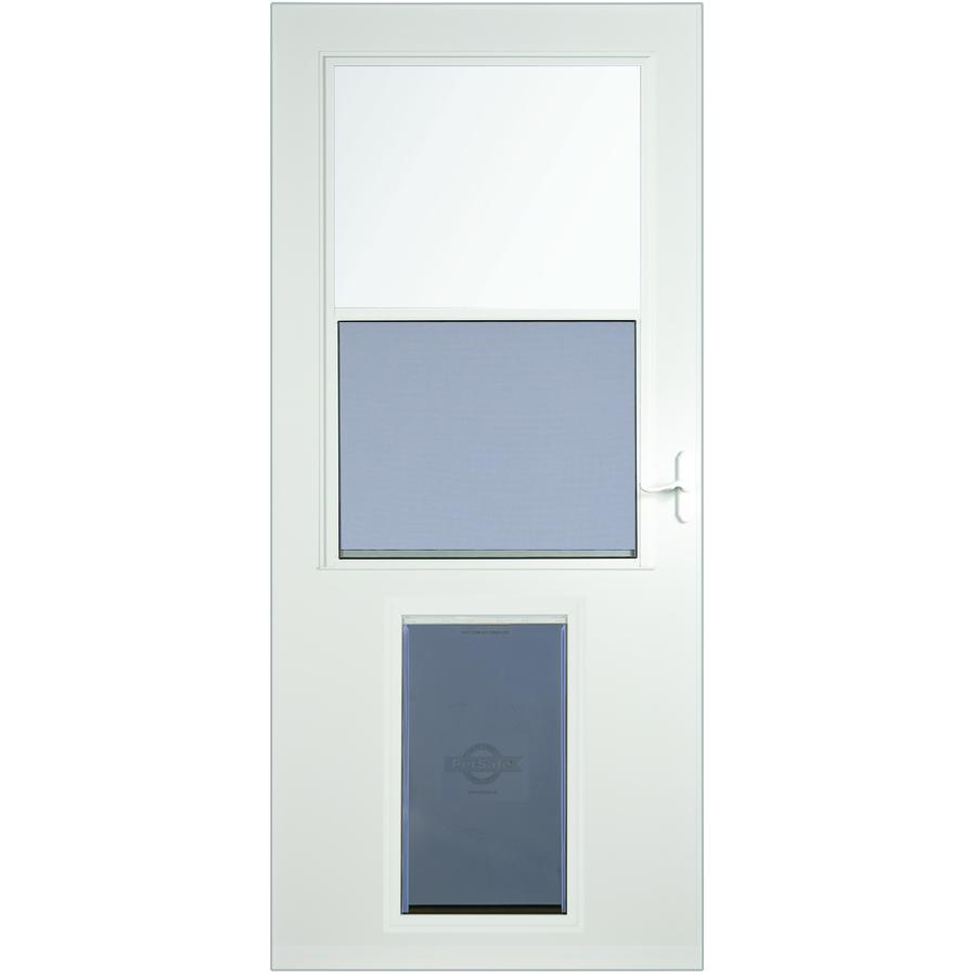 Shop larson pet door xl white high view tempered glass for Glass screen door