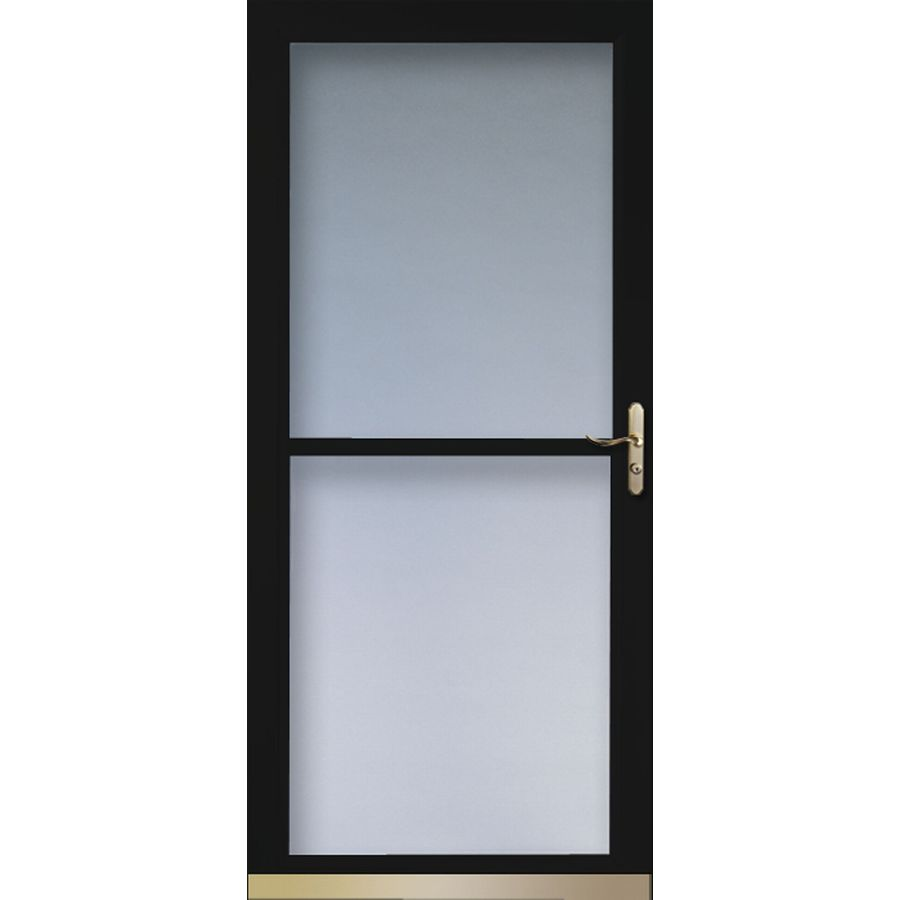 Shop larson tradewinds black full view tempered glass for Retractable glass doors