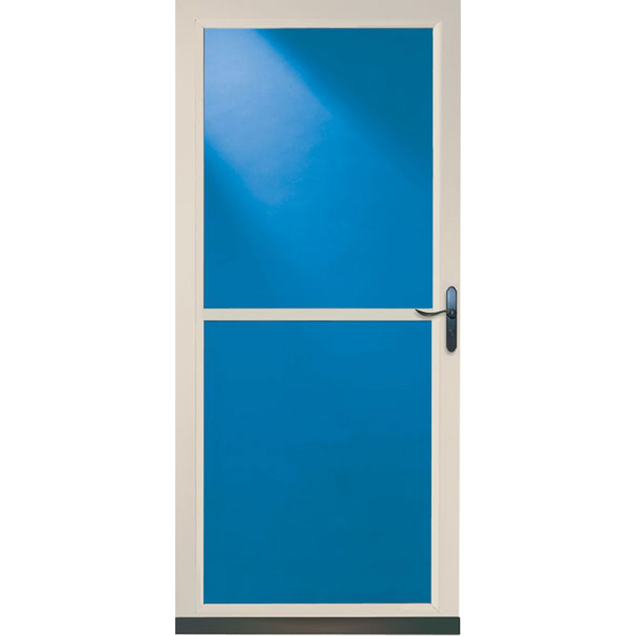 Shop larson tradewinds almond full view tempered glass for Full glass screen door