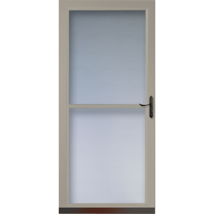 Shop larson tradewinds sandstone full view tempered glass for Full glass screen door