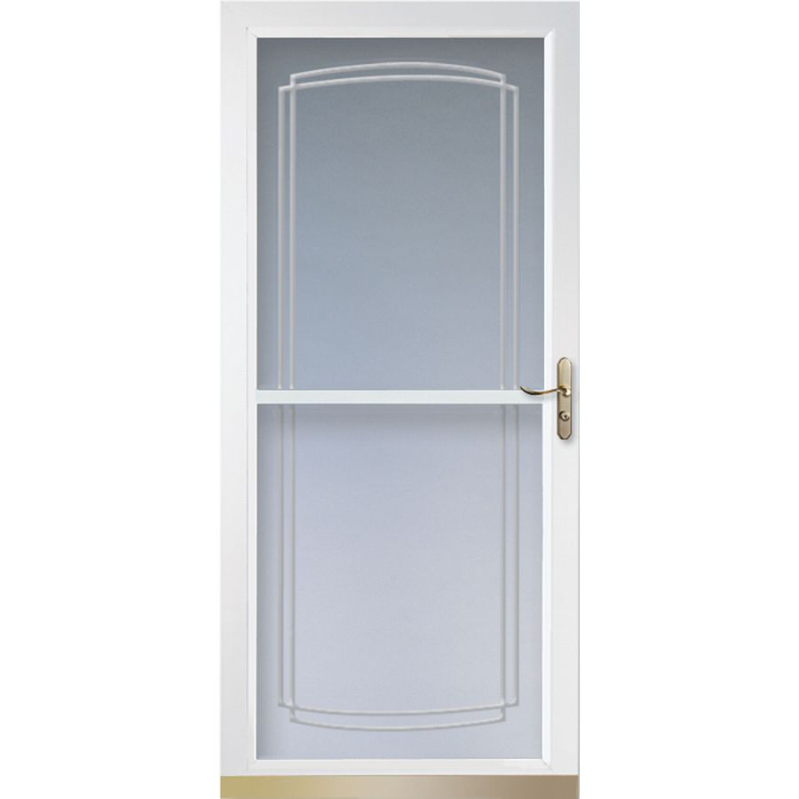 Shop larson tradewinds white full view tempered glass for Retractable screen door replacement