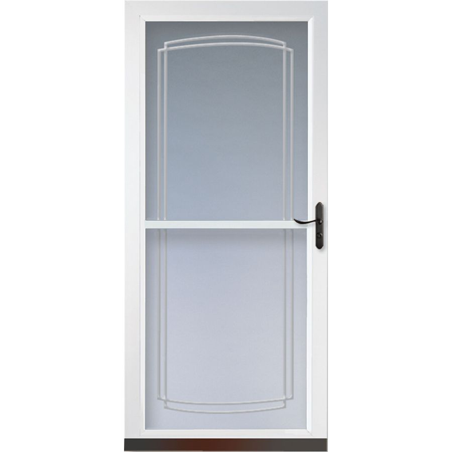 Shop larson tradewinds white full view tempered glass for 36 inch retractable screen door