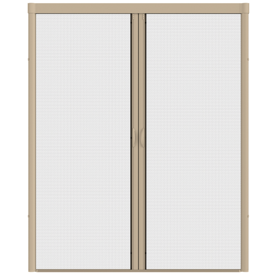 Shop larson 84 in x 79 in desert tan retractable screen for Best rated retractable screen doors