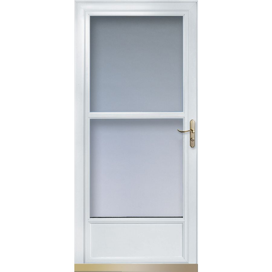 Shop larson tradewinds white mid view tempered glass for 36 inch retractable screen door
