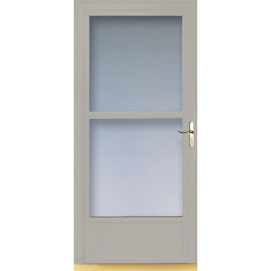 Shop larson 36 in w almond retractable screen storm door for Disappearing screen doors lowes