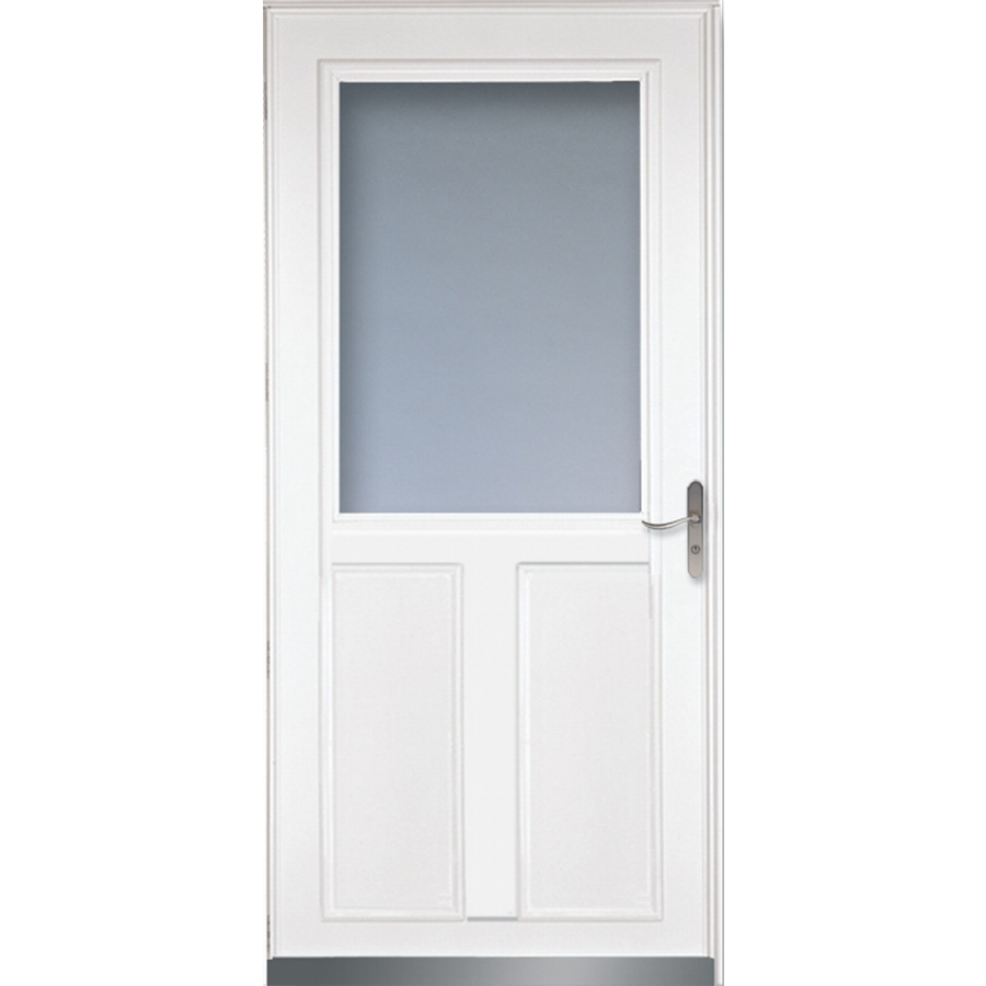Larson White Tradewinds High View Tempered Glass Storm Door Common