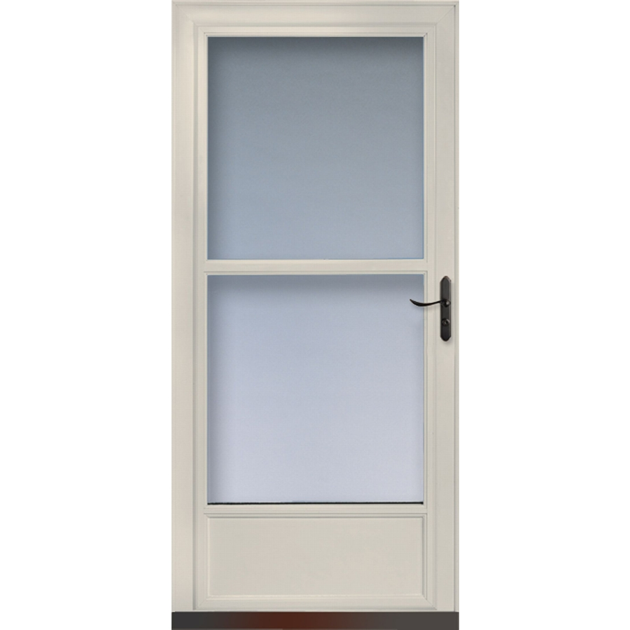 Storm door lowes larson 346600 tradewinds white full view for Storm door window