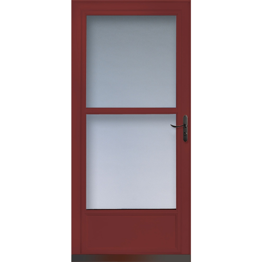 Shop larson tradewinds cranberry mid view tempered glass for Best rated retractable screen doors