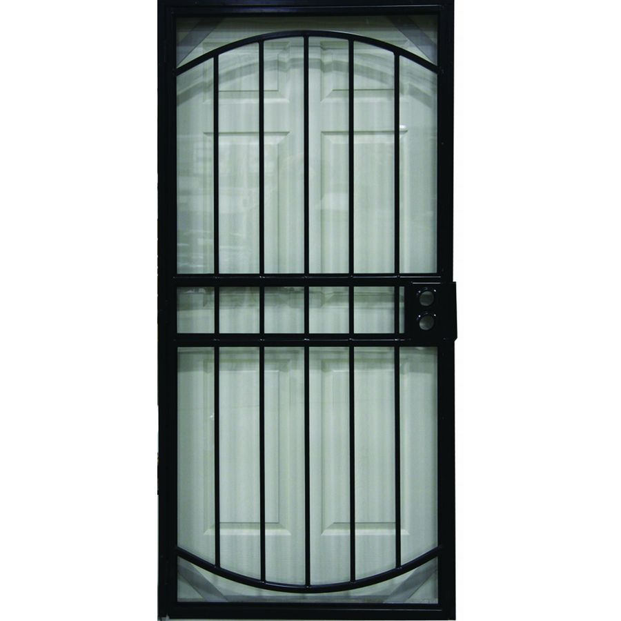 Shop larson geneva black steel security door common 36 for Security screen doors for french doors