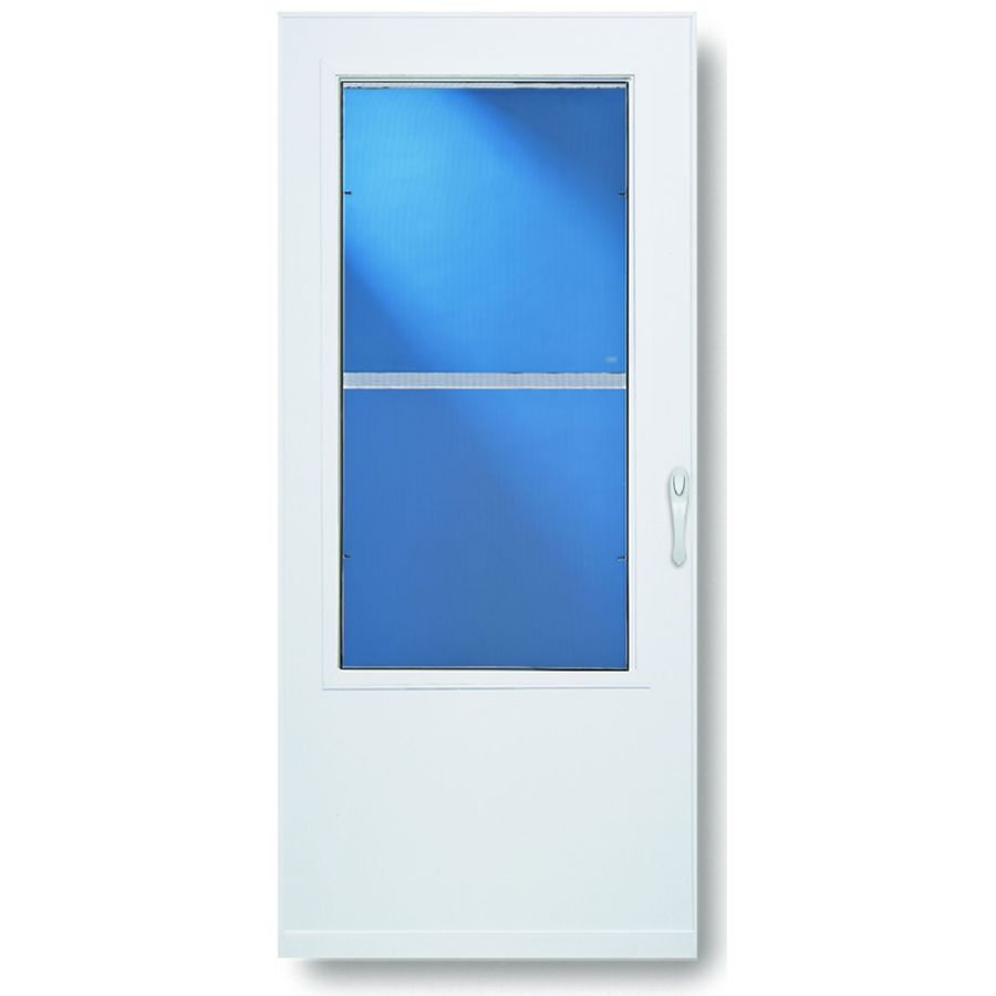 Shop larson highland white mid view tempered glass for Glass screen door