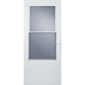 Comfort-Bilt 36-in x 81-in White Athens Mid-View Tempered Glass Storm Door