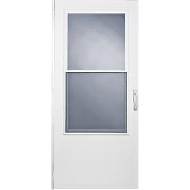 Comfort-Bilt West Point White Mid-View Tempered Glass Wood Core Standard Half Screen Storm Door (Common: 32-in x 78-in; Actual: 31.75-in x 77.625-in)