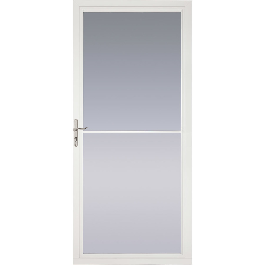 Shop pella white full view tempered glass retractable for Full glass screen door