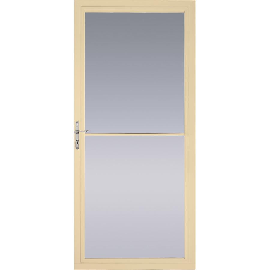 Shop pella poplar white full view tempered glass for Retractable screen door ratings