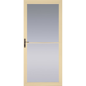 Shop pella poplar white full view tempered glass aluminum for Pella retractable screen door