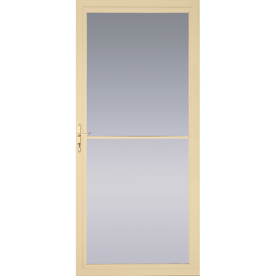 Shop pella poplar white full view tempered glass for Full glass screen door
