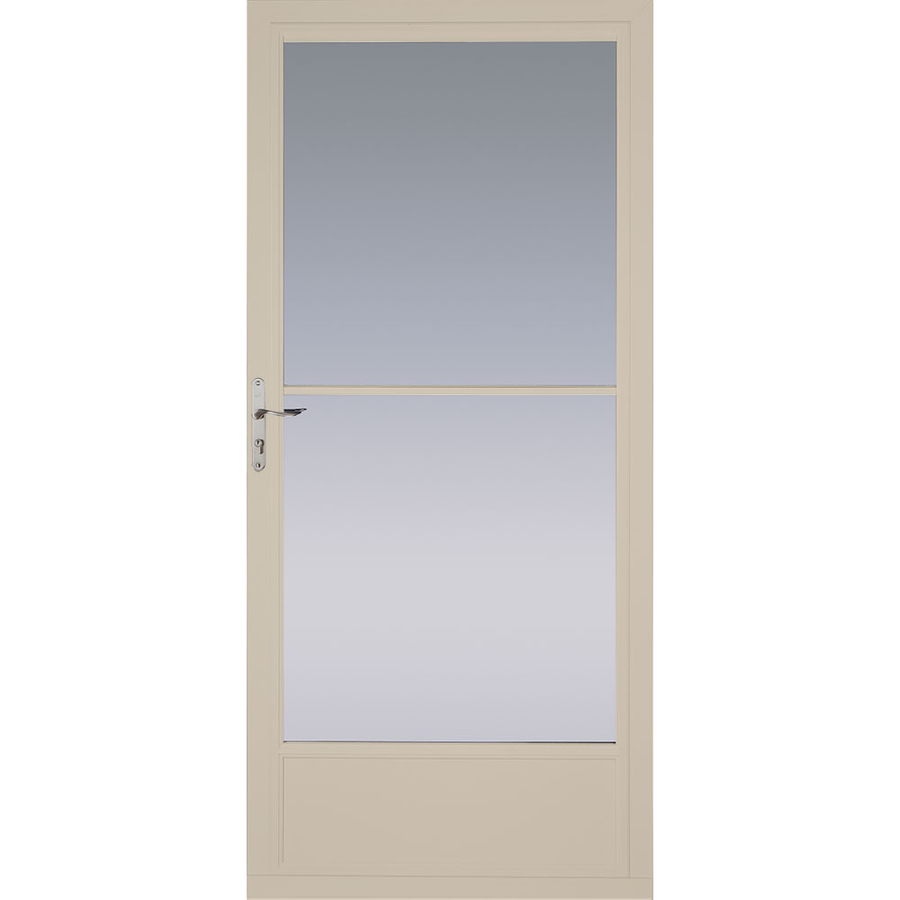 Shop pella tan mid view tempered glass retractable screen for Best rated retractable screen doors