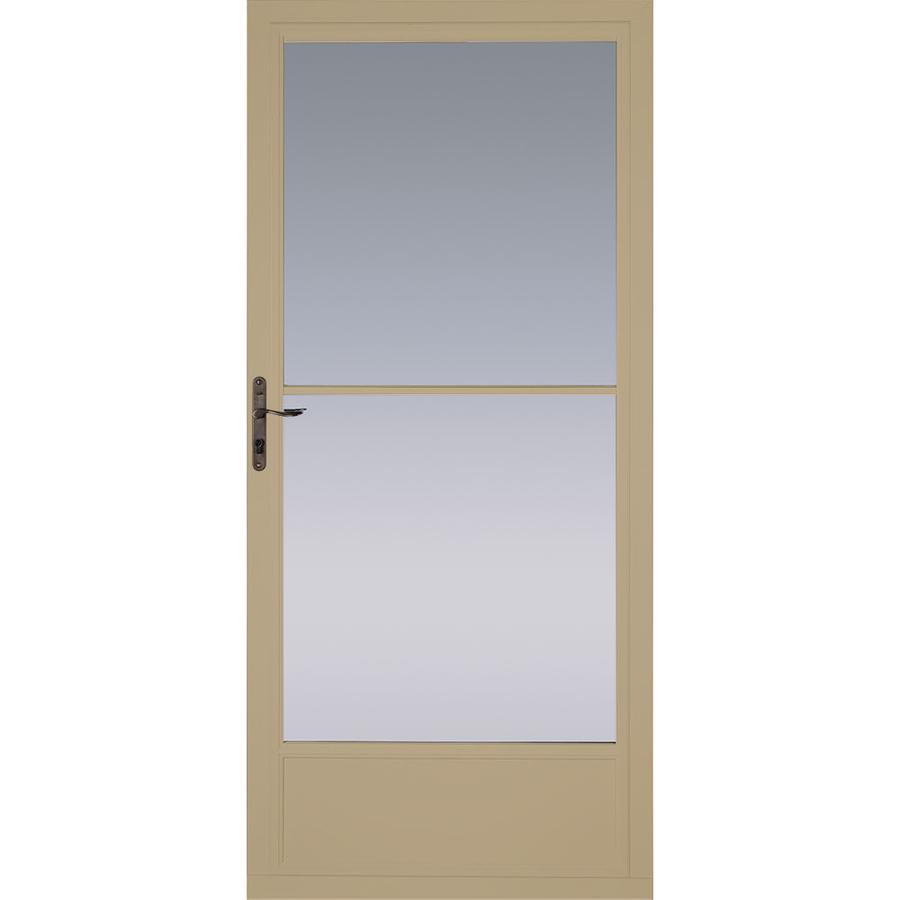 Shop pella putty mid view tempered glass retractable screen storm door