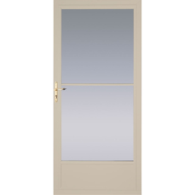 shop pella tan mid view tempered glass aluminum