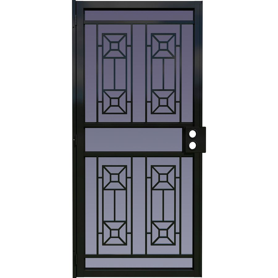 Security Storm Doors Product : Larson matrix black steel security door common in