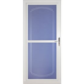 Larson tradewinds white full view beveled safety for Best rated retractable screen doors