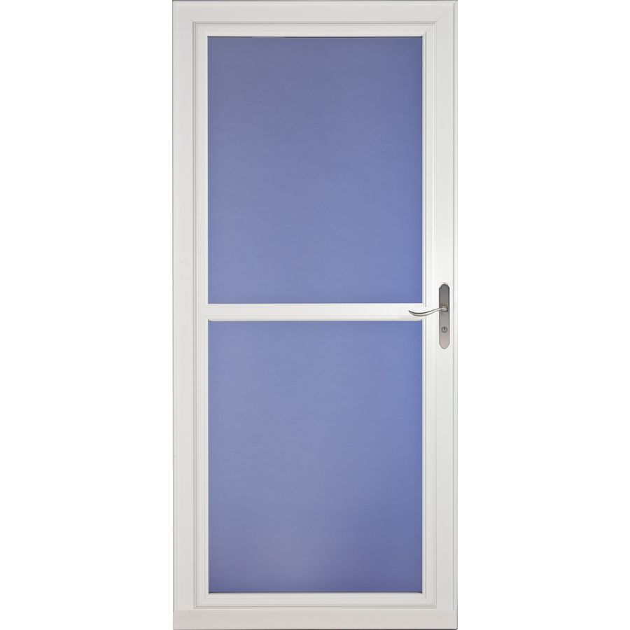 Shop larson tradewinds white full view tempered glass Cost of retractable screen doors