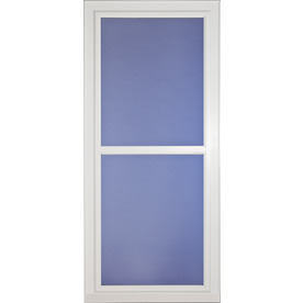 Shop larson tradewinds selection white full view tempered for Best rated retractable screen doors