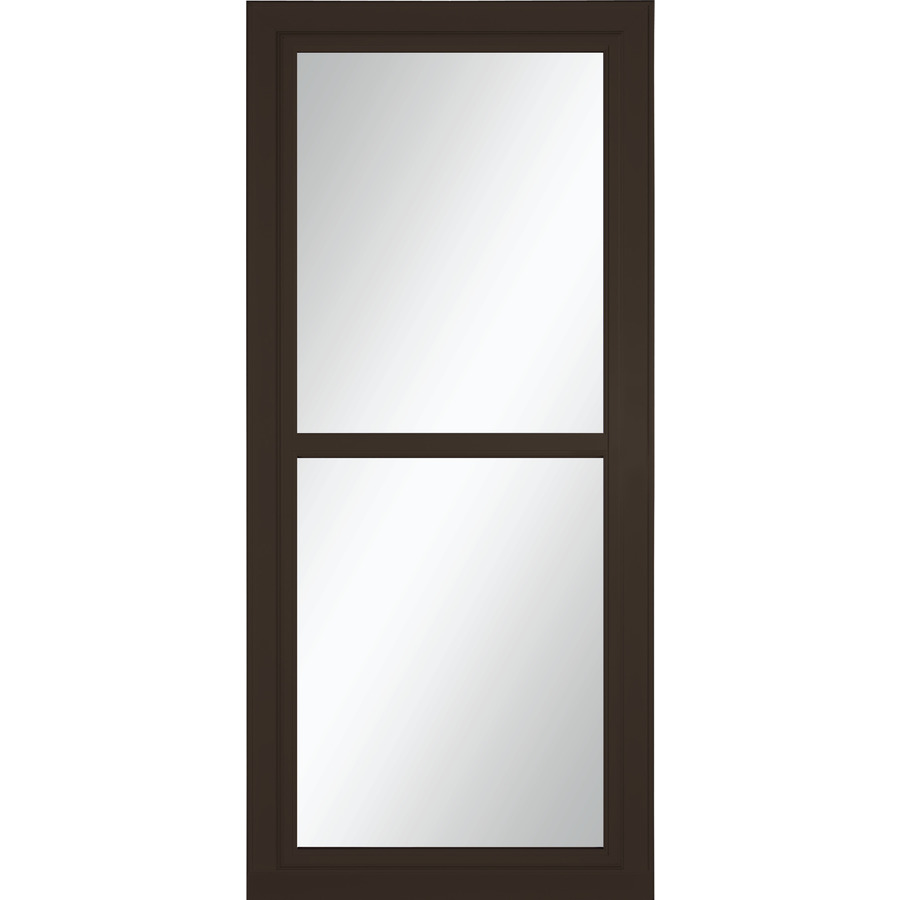 Shop larson tradewinds selection brown full view tempered for Full glass screen door