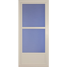 Shop larson tradewinds selection almond mid view tempered for Best rated retractable screen doors