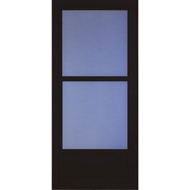 Shop larson tradewinds selection black mid view tempered for Best rated retractable screen doors