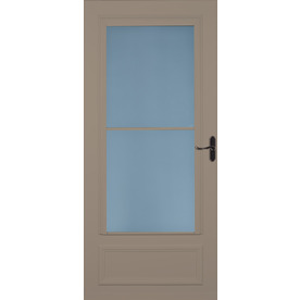 Shop larson savannah sandstone mid view tempered glass for Best rated retractable screen doors