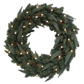 Holiday Living 30-in Pre-Lit Fraser Fir Indoor/Outdoor Artificial Christmas Wreathwith White Lights