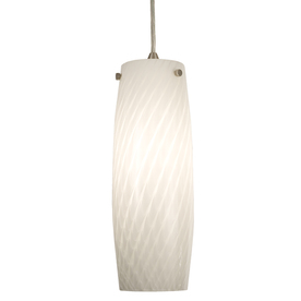 Portfolio 4.5-in W Nickel Pendant Light with Frosted Glass Shade